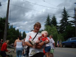 Ken with son Brenden on Canada Day 2003. Brenden passed away that November